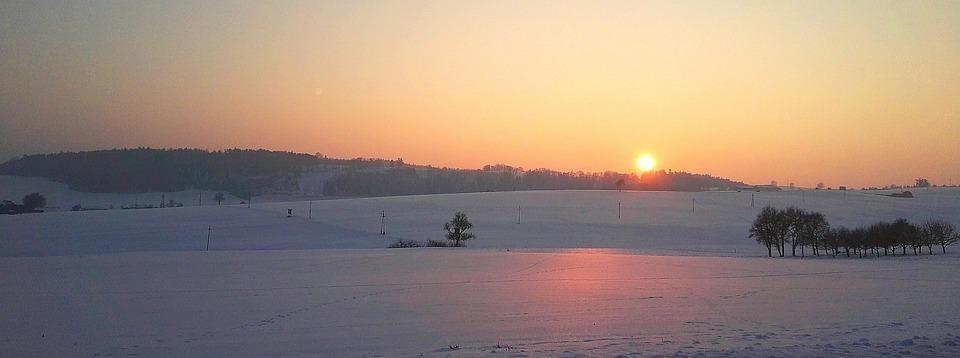 Sunset, Snow, Landscape, Nature, Winter, Mountains