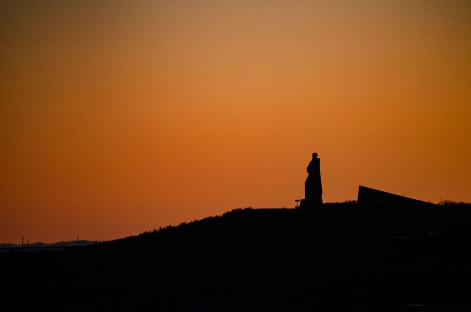 Russia, Murmansk, Sunset, North, Nord, Monument, Sky