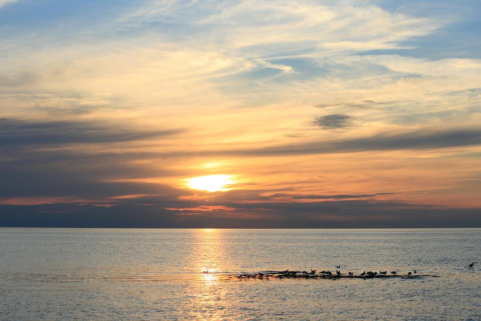 Sunset, Sea, Sky, Beach, Nature, Landscape, Horizon