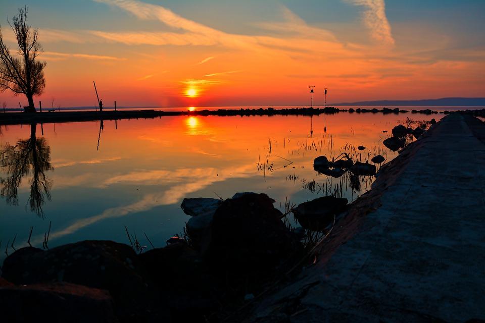 Lake Balaton, Sunset, Water, Nightfall, Nature