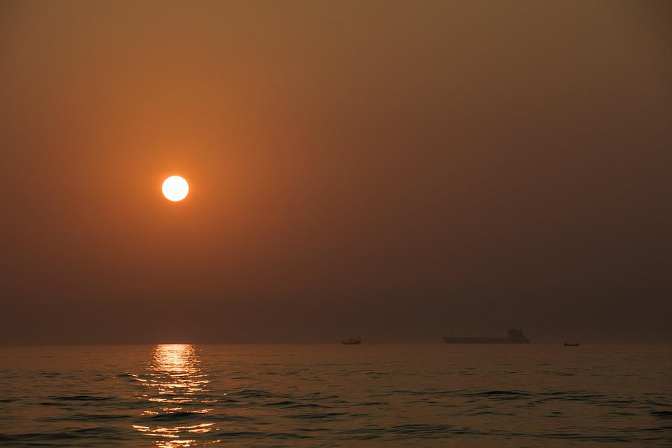 Night, Sea, Sun, Sunset