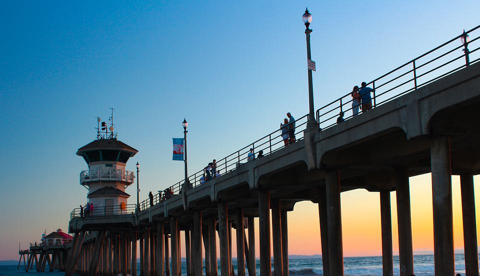 California, Pier, Sunset, Water, Sea, Beach, Ocean