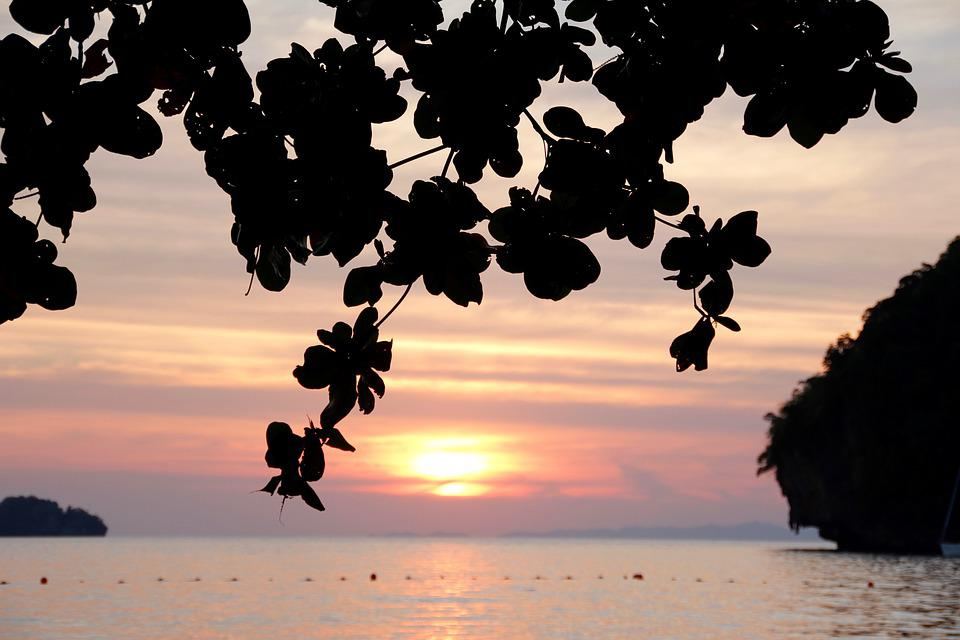 Island, Rock, Sunset, Shadow, Sea, Ocean, Thailand