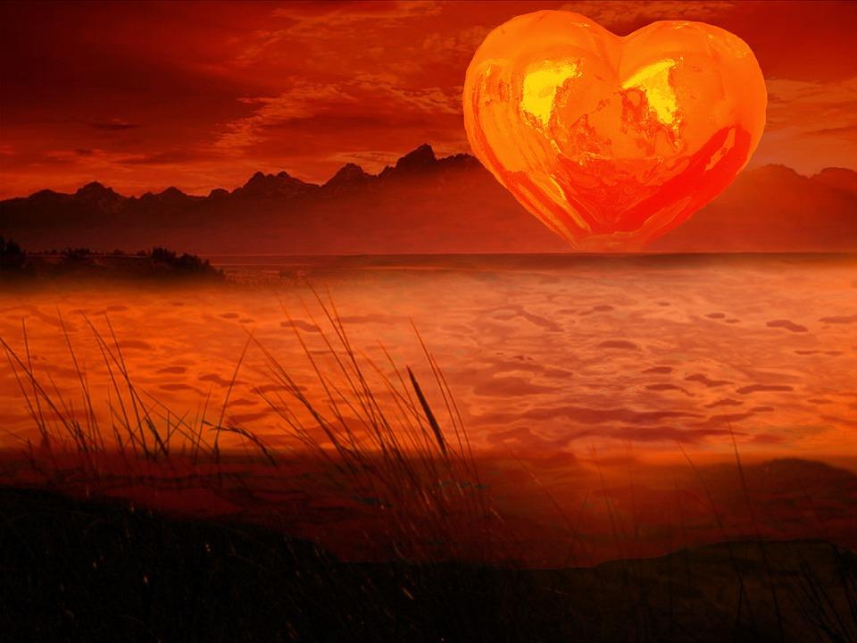 Orange Heart, Heart, Sunset, Romantic, Love