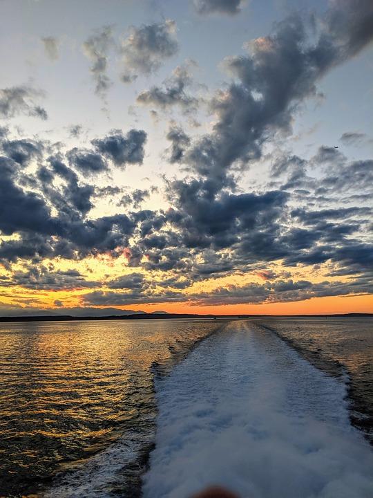 Ocean, Sunset, Sky, Sea, Boat, Wake, Orange