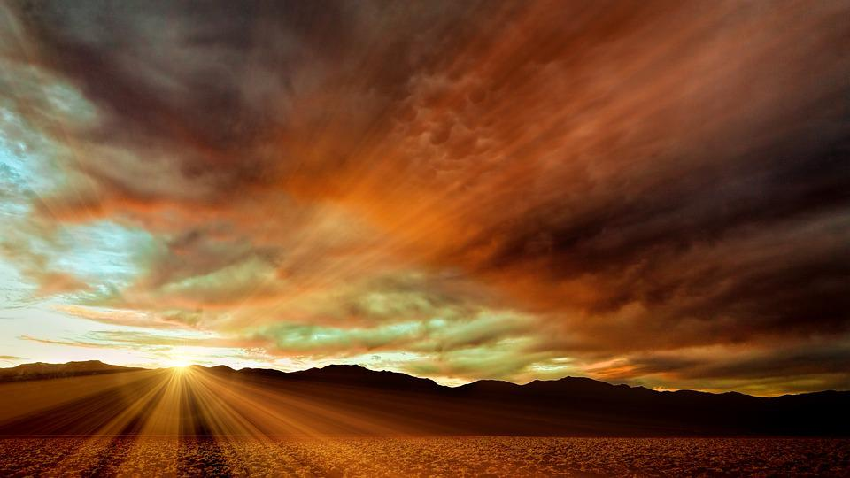 Sunset, Nature, Panorama, Sky, Sun, Death Valley