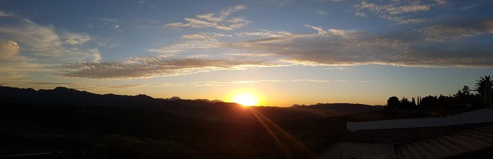 Round, Panoramic, Sunset, Clouds, Sky, Rays, Make