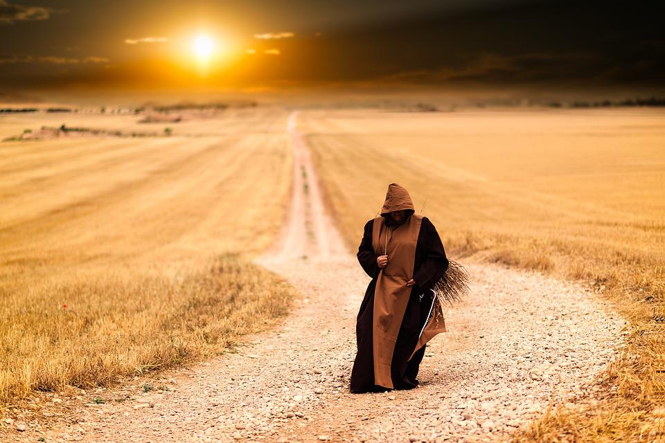 Monks, Path, Sunset, Landscape, Afternoon