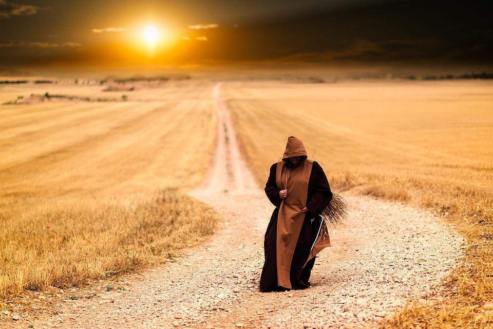 Monks, Path, Sunset, Landscape, Afternoon