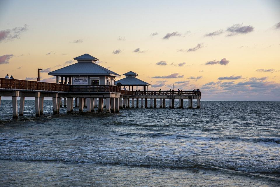 Beach, Pier, Sunset, Sea, Ocean, Water, Calm, Waves