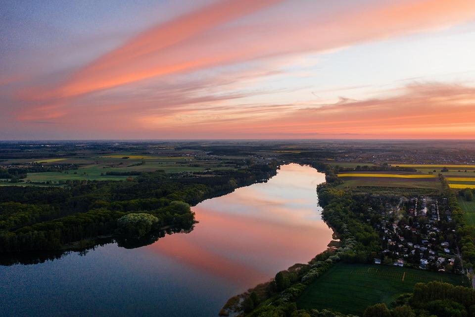 Lake, Sunset, Sun, Set, Summer, Water, Reflection, Pink