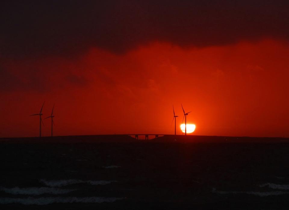 Sunset, Pinwheel, Silhouette, Zeeland, Holland