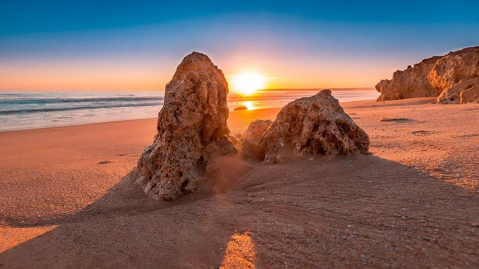 Sunset, Beach, Algarve, Portugal