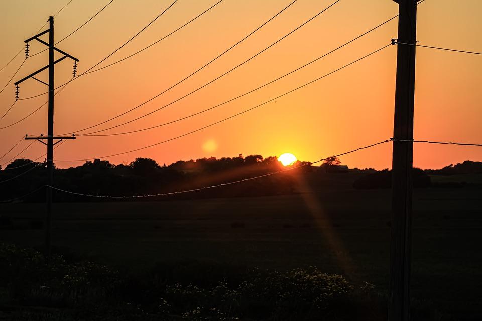 Sunset, Power Lines, Electricity, Sky, Line, Dusk