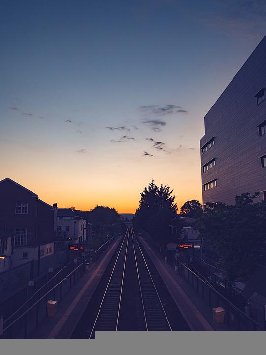 Sunset, Train Station, Railway, Rail Tracks