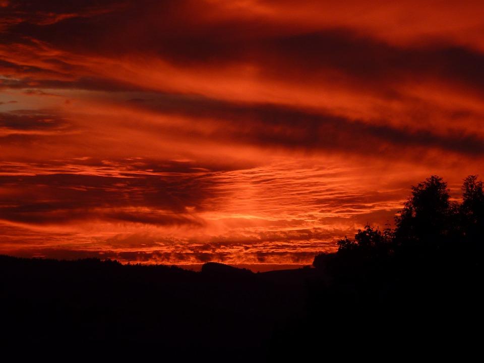 Sky, Red, Sunset, Abendstimmung