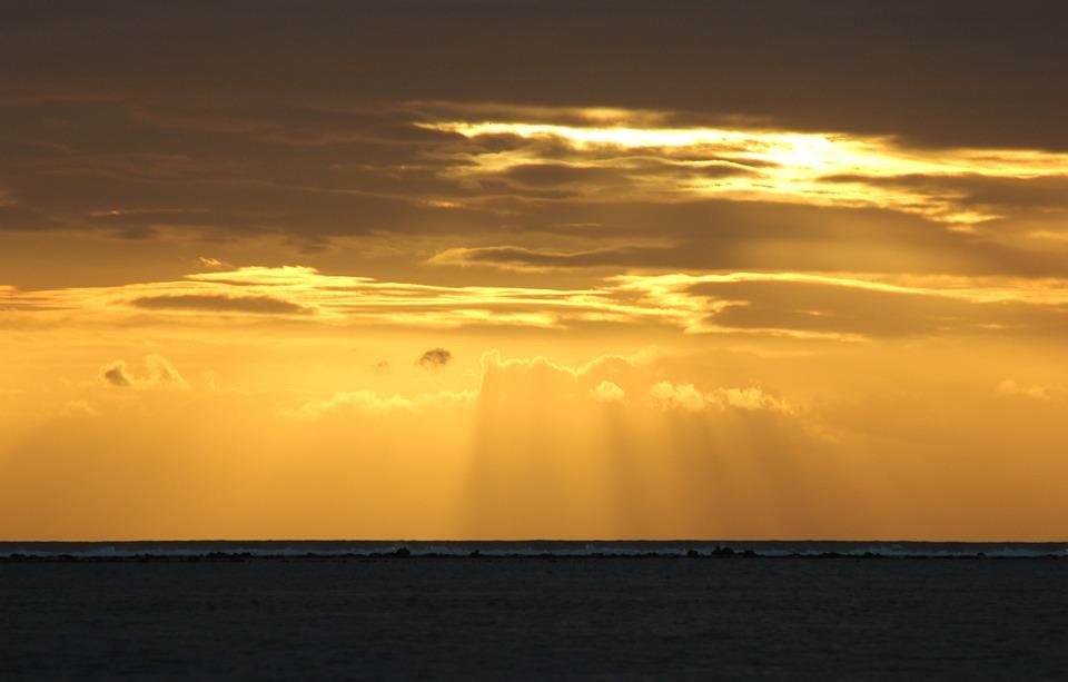 Sun, Sunset, Reflection, Sea, Orange, Clouds