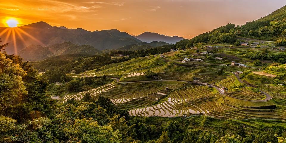 Rice Terraces, Sunset, Mountains, Rice Paddies, Farm