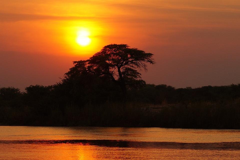 Sunset, River, Silhouette, Sun, Sunlight, Orange Sky
