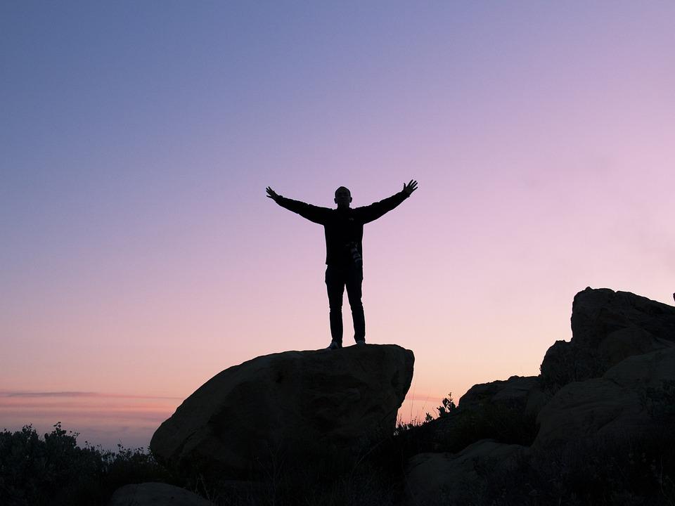 Person, Silhouette, Sunset, Rock, Boulder, Peak