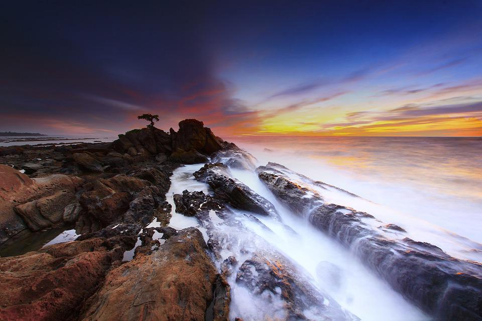 Coast, Sunset, Waves, Rock Formations, Rocky Coast