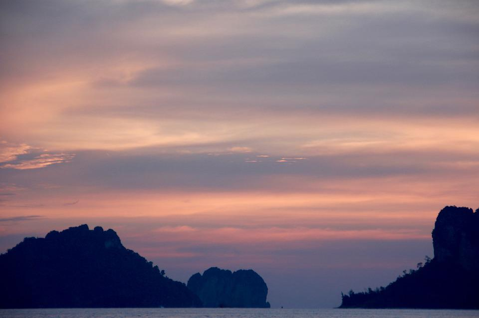Island, Rock, Sunset, Shadow, Sea, Ocean, Thailand