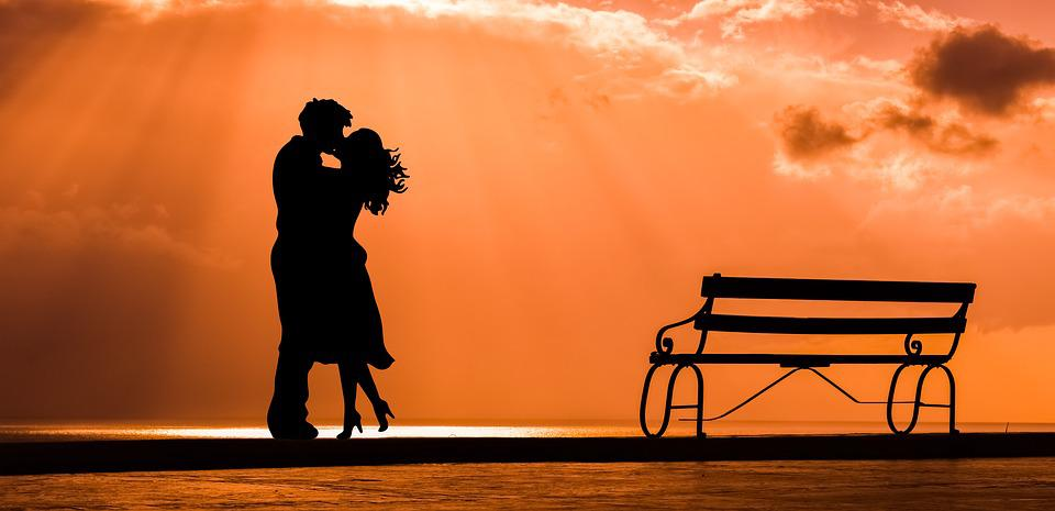 Couple, Romance, Love, Kiss, Lovers, Bench, Sunset