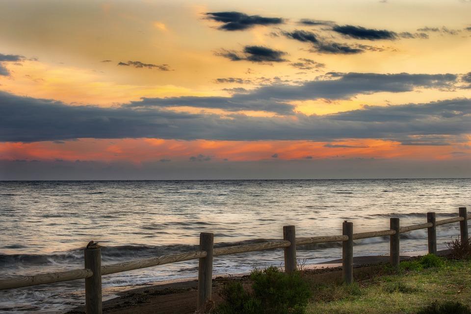 Sunset, Beach, Sun, Sky, Landscape, Romantic, Waves