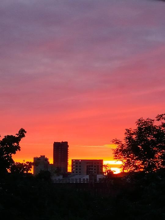 Sunset, Evening, City, Russia, Province, Landscape