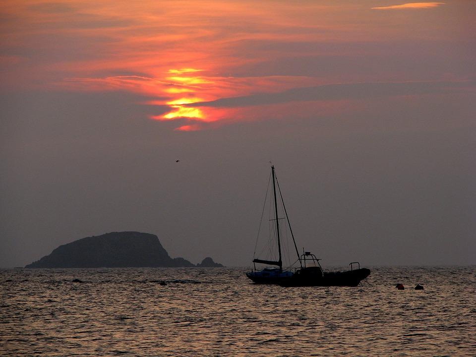 Sunset, The Sun, Sailboat, Yacht, Water, Ocean, Rock