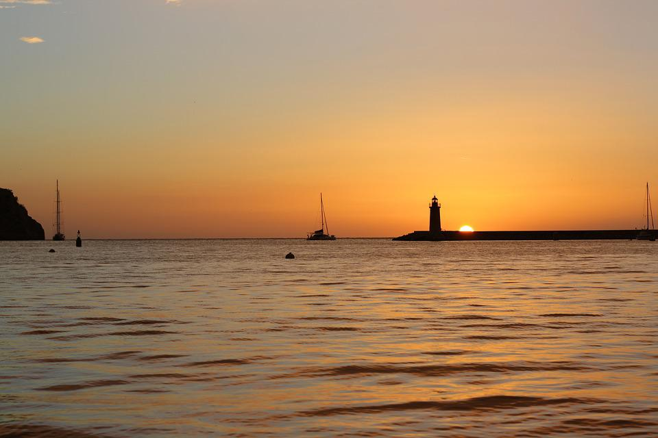Sunset, Sailing Boat, Lighthouse, Sun, Ship, Sea