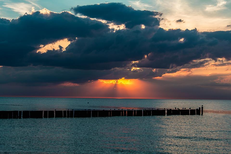 Sunset, Sea, Sunset Sea, Abendstimmung, Clouds, Water