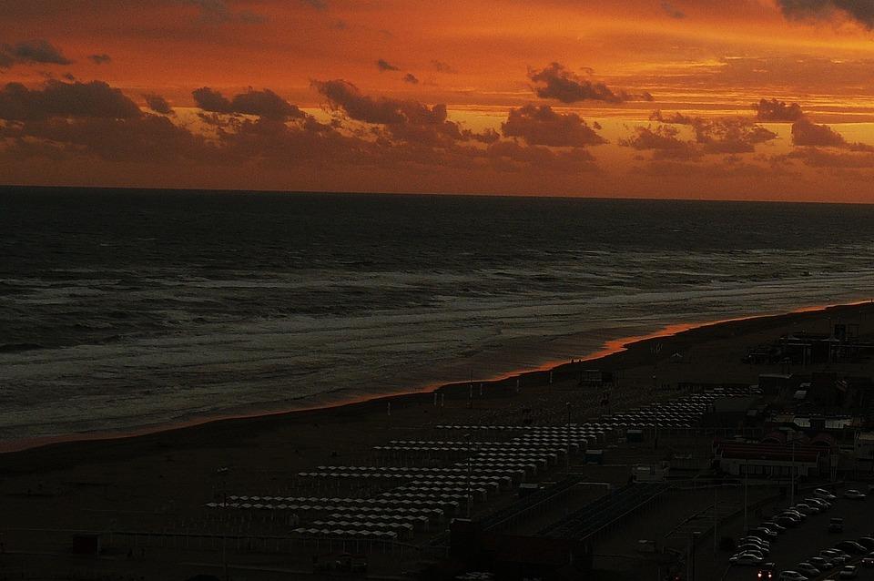 Sea, Sunset, Ocher, Orange, Yellowish, Sky, Clouds