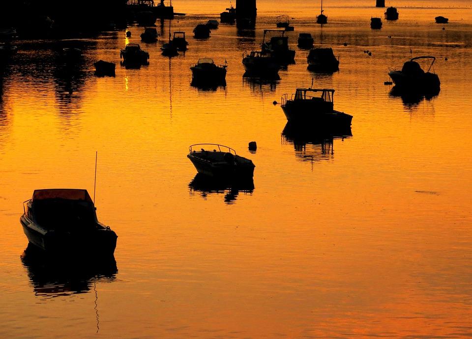 Boats, Sunset, Bridge, Water, Sea, Reflection, Shadows