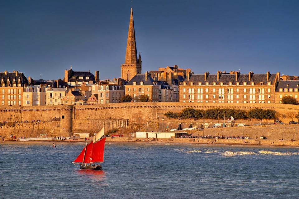 Landscape, Seaside, Sea, City, Sunset, Summer, Port