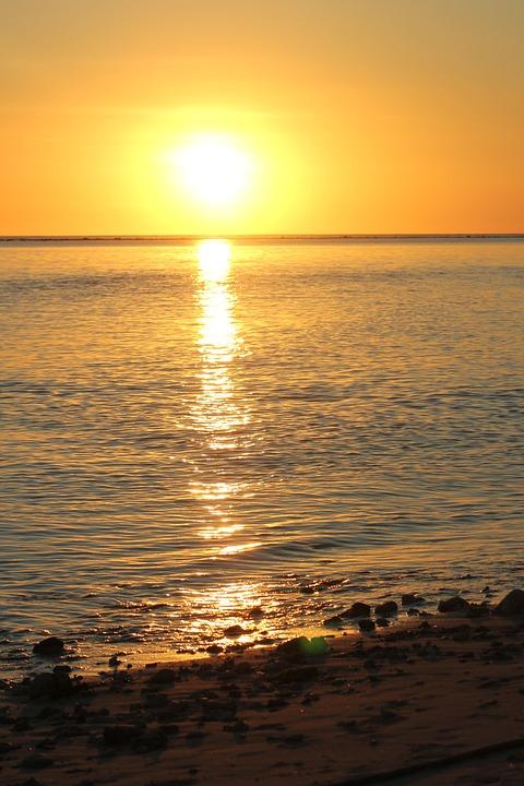 Sun, Sunset, Reflection, Sea