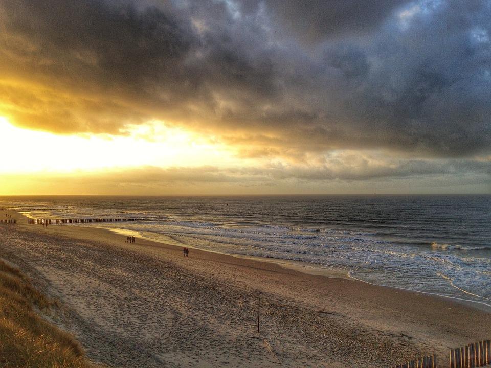 Beach, Sunset, Sand, Sea, Zeeland, Domburg, Dunes, Walk