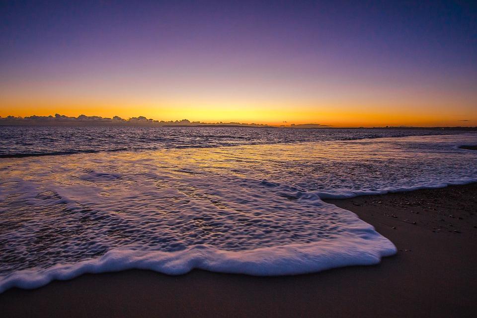 England, Dorset, Sunset, Seascape, Romantic