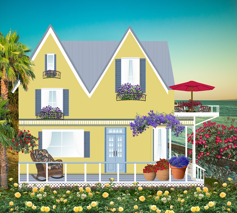 House, Home, Seaside, Parasol, Veranda, Sunset, Trees