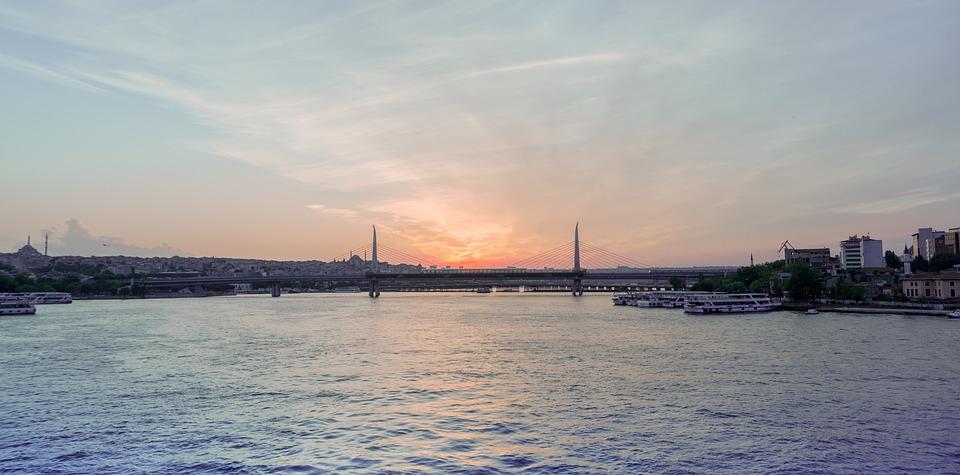 Sunset, Bridge, See