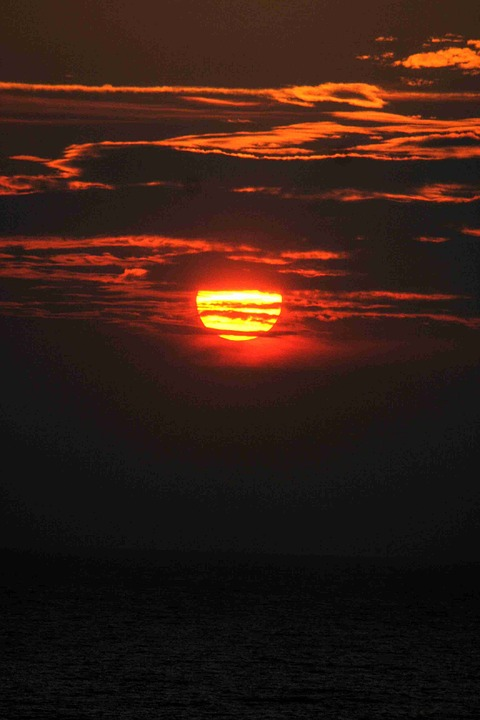 Sun, Setting Sun, Sunset, Water, Clouds, Sky