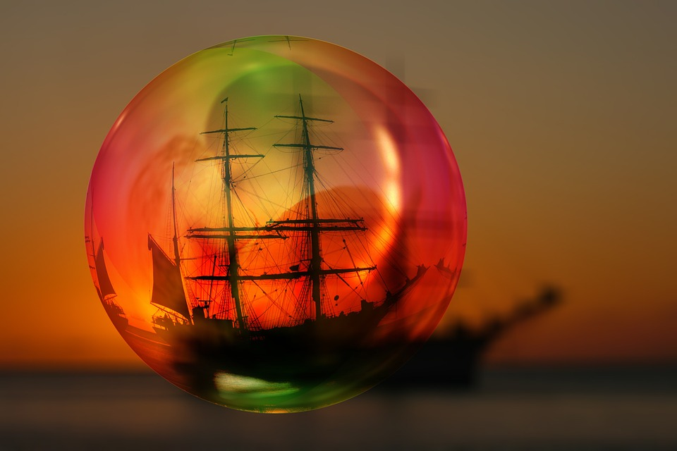 Caribbean, Sunset, Soap Bubble, Ball, Bill, Ship, Boot