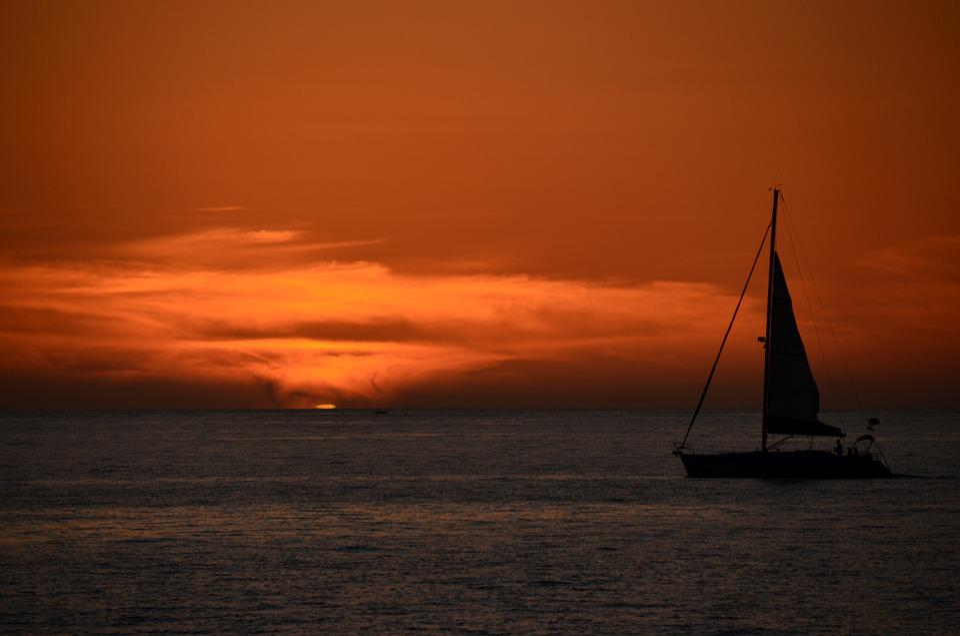 Sunset, Sea, Ocean, Dusk, Ship, Sail