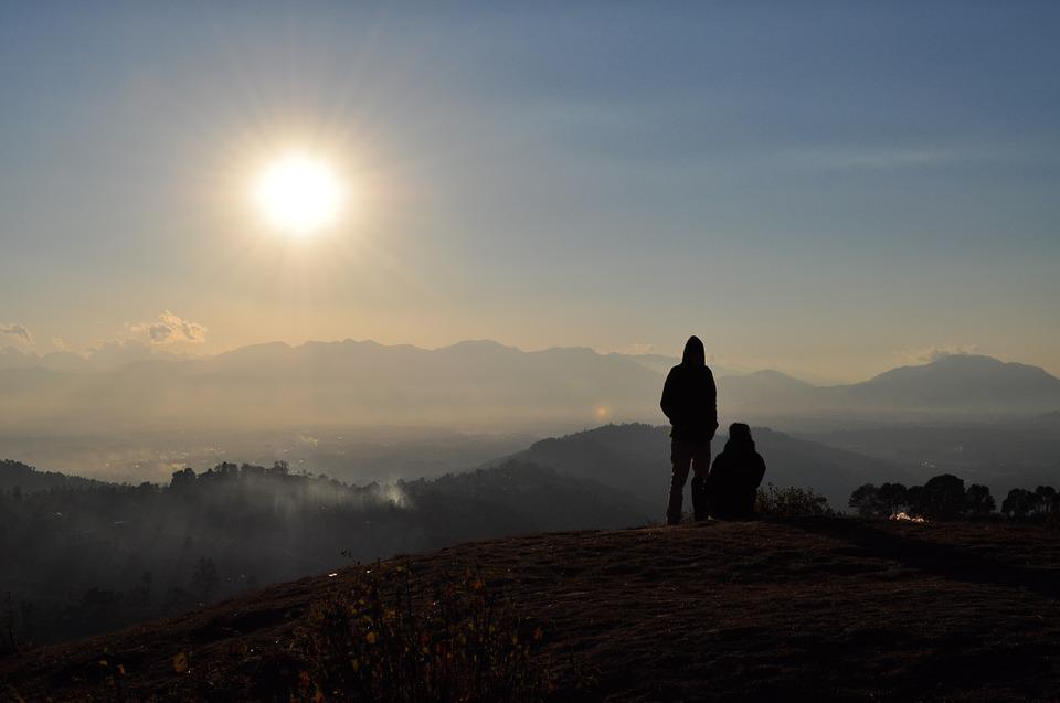 Sunset, People, Silhouette, Mountains, Hills, Landscape