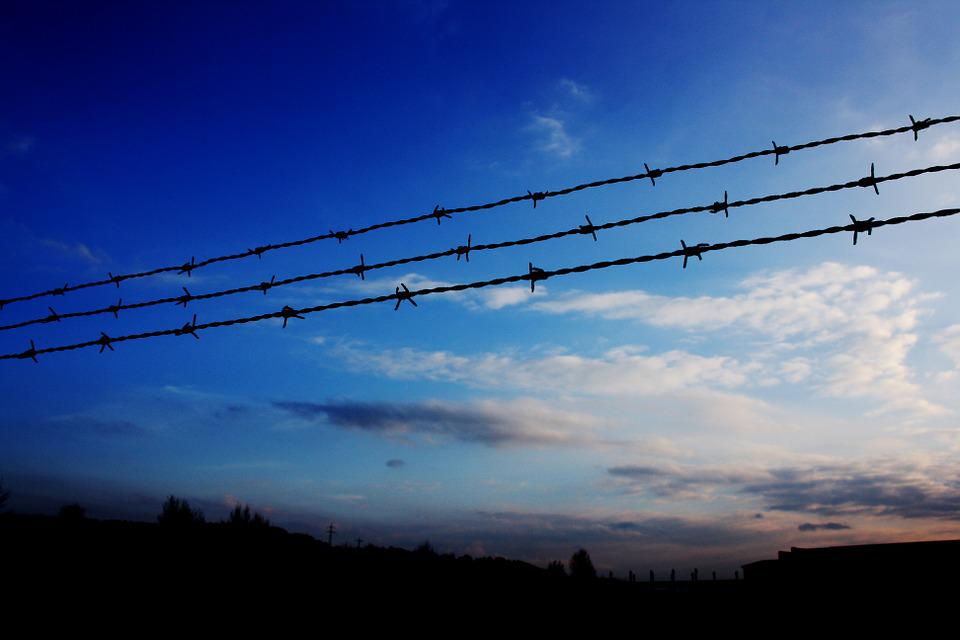Fence, Sunset, Sky, Silhouette, Landscape, Demarcation