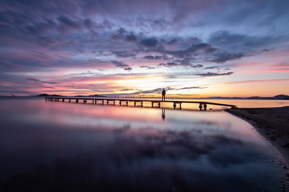 Lake, Pier, Sunset, Sunrise, Silhouette, Dock, Jetty