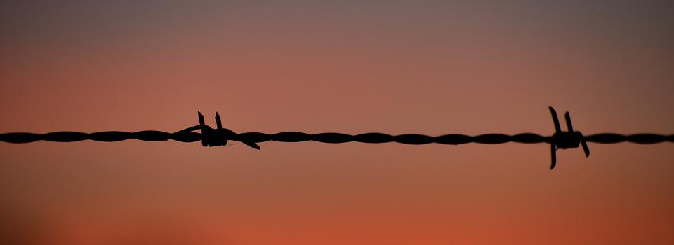 Sunset, Silhouette, Barb Wire Fence, Silhouetted, Dawn