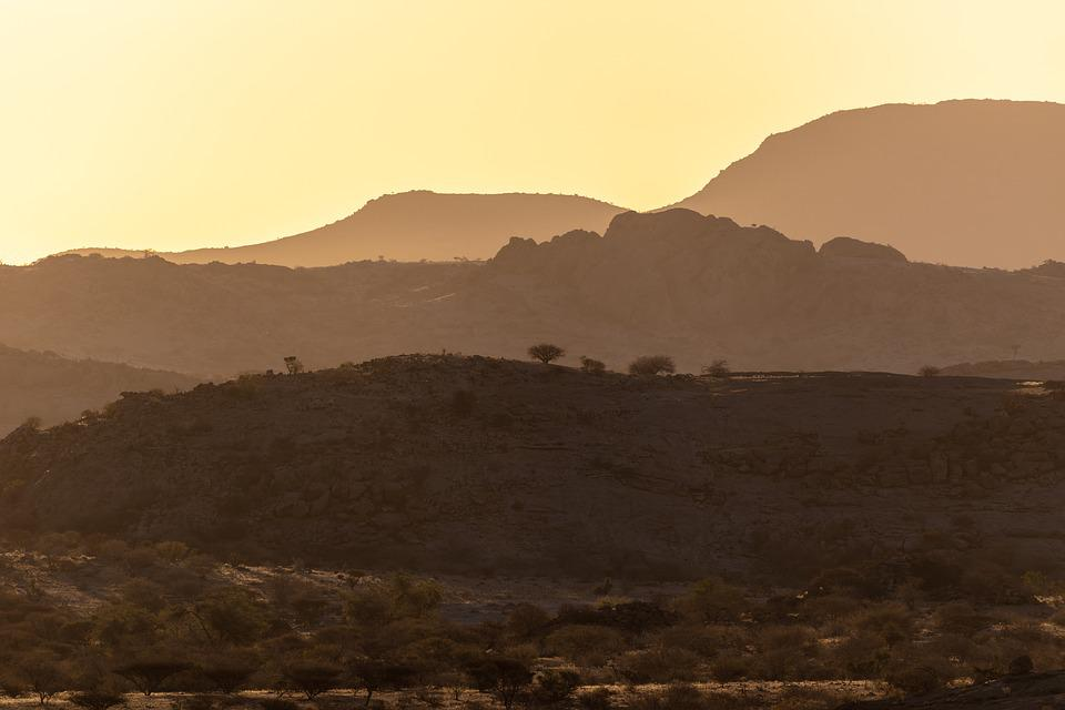 Sunset, Africa, Namibia, Sky, Landscape, Silhouette