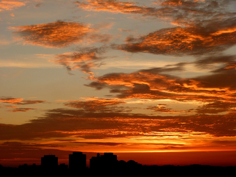 Skyline, Sky, Sunset, Red, Beautiful, Clouds, Singapore