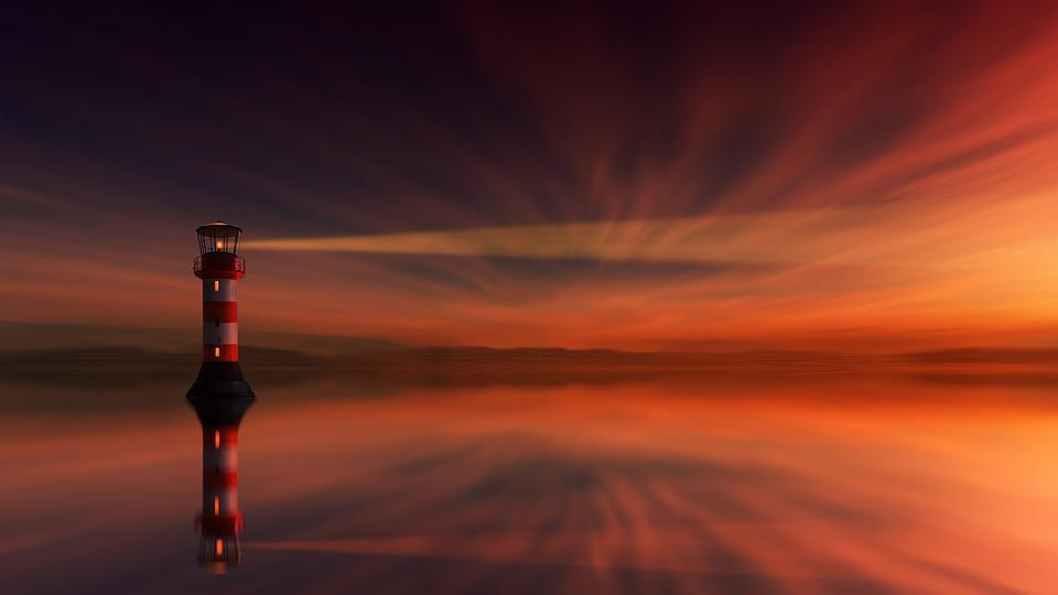 Sunset, Lighthouse, Dawn, Dusk, Sky, Abendstimmung